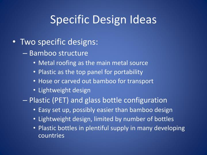 Specific Design Ideas