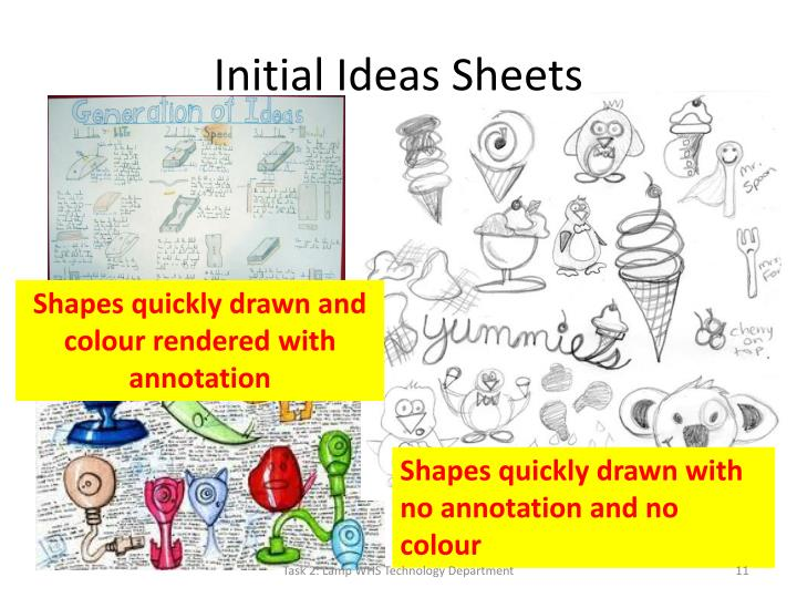 Initial Ideas Sheets