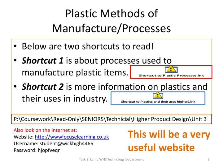 Plastic Methods of Manufacture/Processes