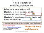 plastic methods of manufacture processes
