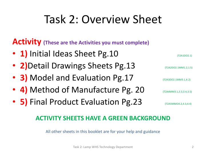Task 2: Overview Sheet
