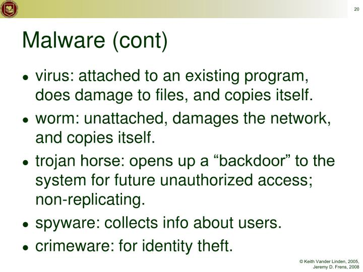 virus: attached to an existing program, does damage to files, and copies itself.