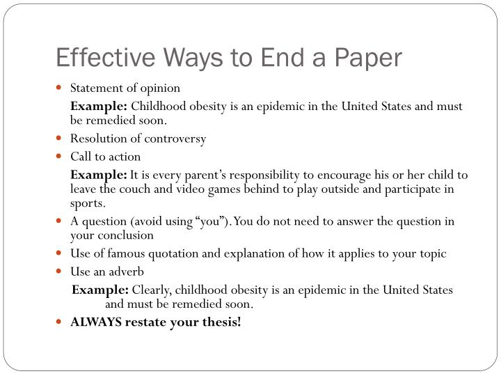 Effective Ways to End a Paper