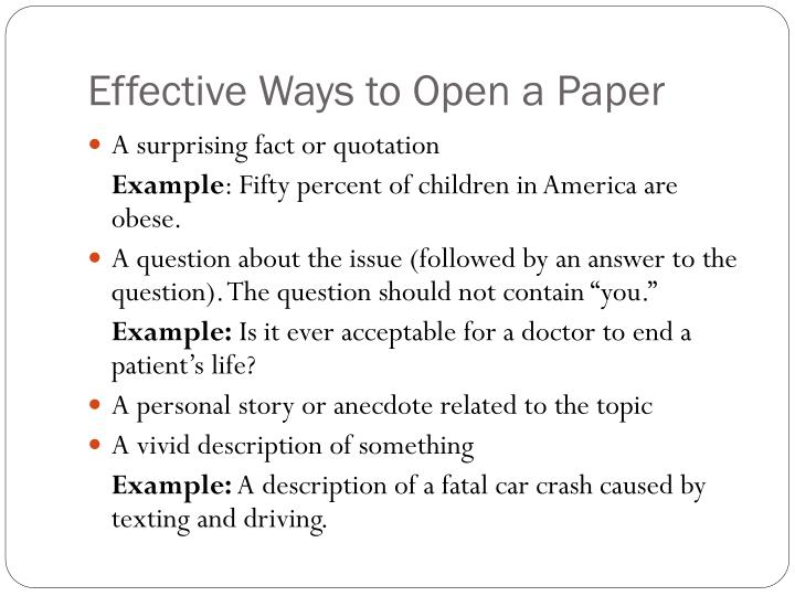 Effective Ways to Open a Paper