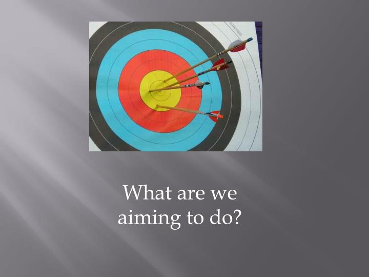 What are we aiming to do?