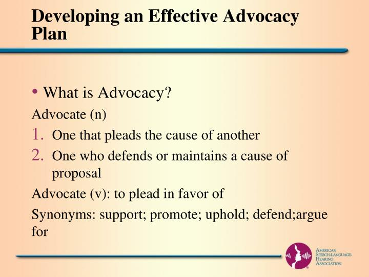 Developing an Effective Advocacy Plan