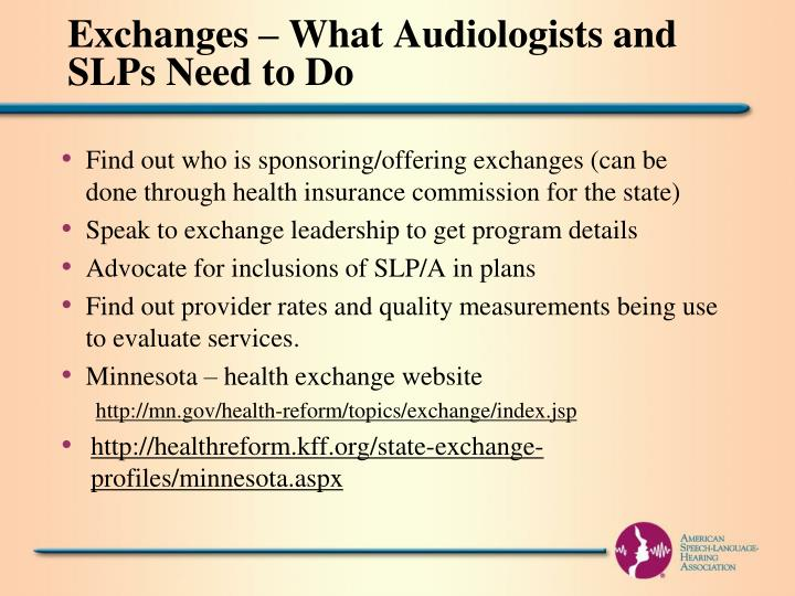 Exchanges – What Audiologists and SLPs Need to Do