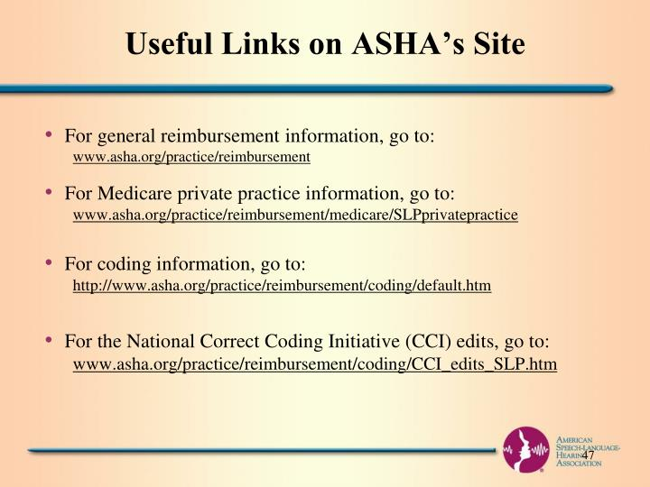 Useful Links on ASHA's Site