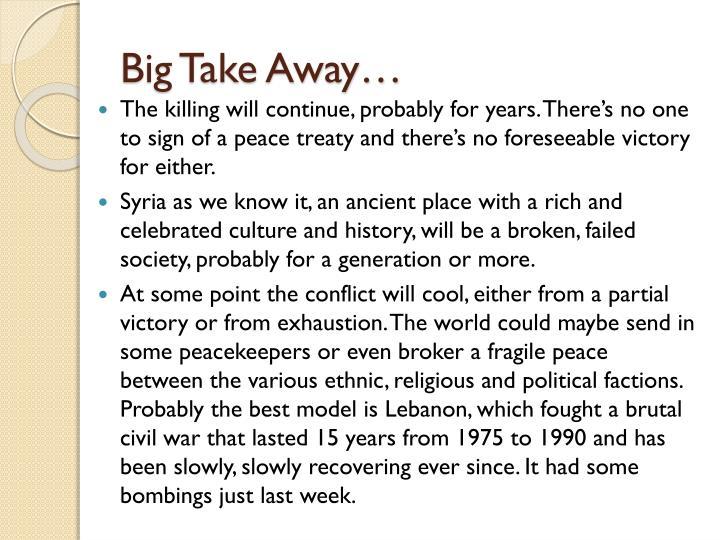 Big Take Away…