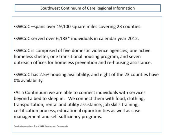 Southwest Continuum of Care Regional Information