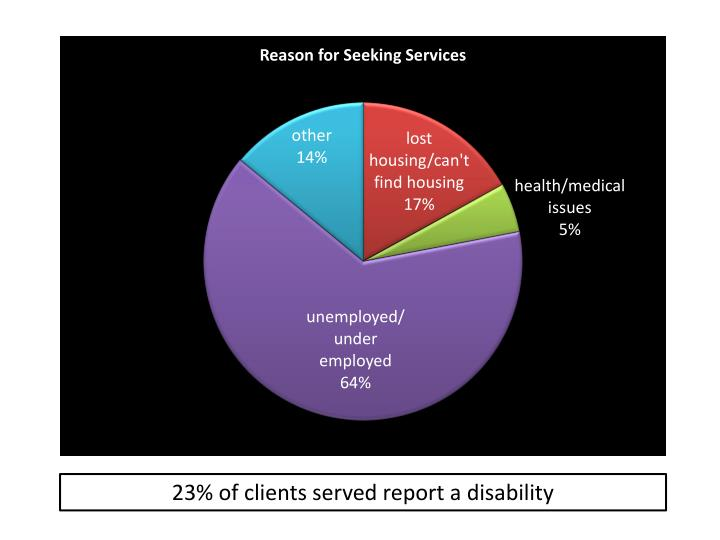 23% of clients served report a disability
