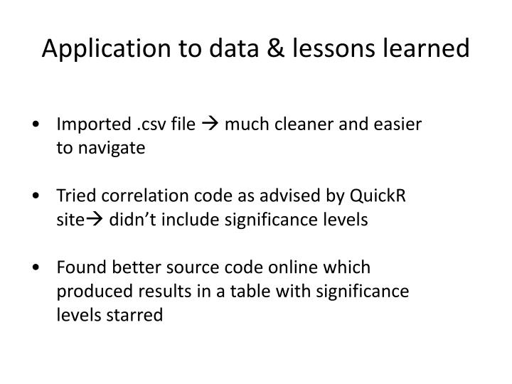 Application to data & lessons learned