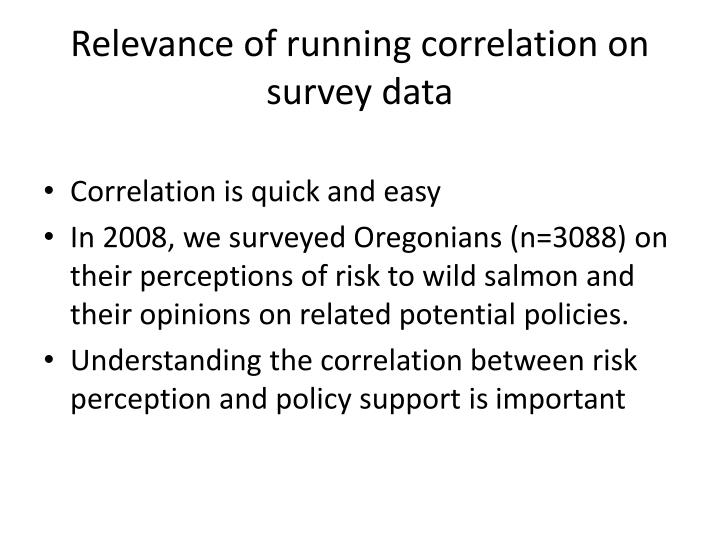 Relevance of running correlation on survey data