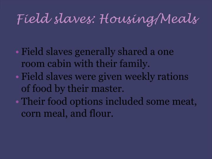 Field slaves: Housing/Meals