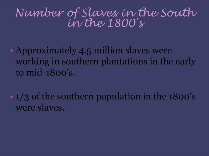 Number of Slaves in the South in the 1800's