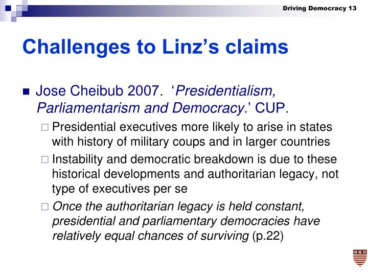 Challenges to Linz's claims