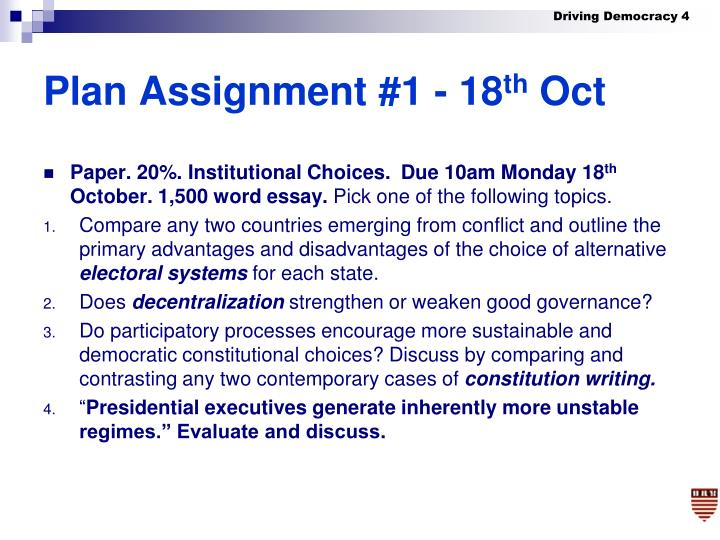 Plan Assignment