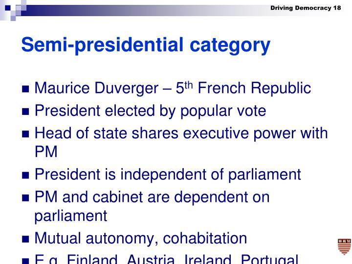 Semi-presidential category