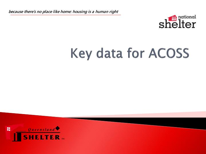 Key data for acoss