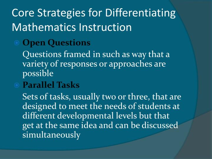 Core Strategies for Differentiating Mathematics Instruction