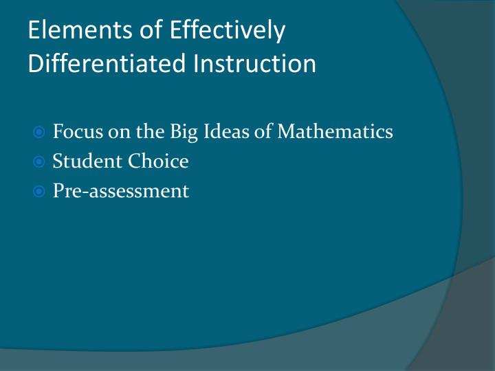 Elements of Effectively Differentiated Instruction