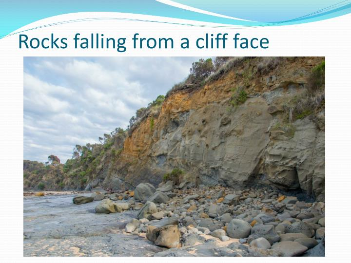 Rocks falling from a cliff face