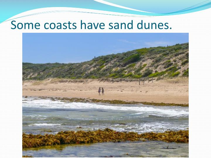 Some coasts have sand dunes.