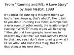 from running and me a love story by joan nesbit 1999