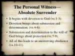 the personal witness absolute surrender