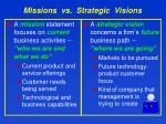 missions vs strategic visions