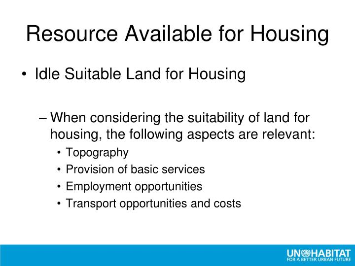 Resource Available for Housing