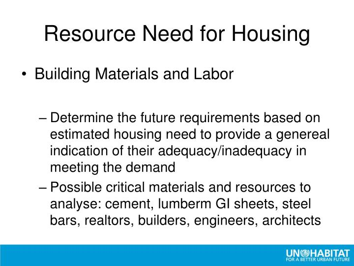 Resource Need for Housing