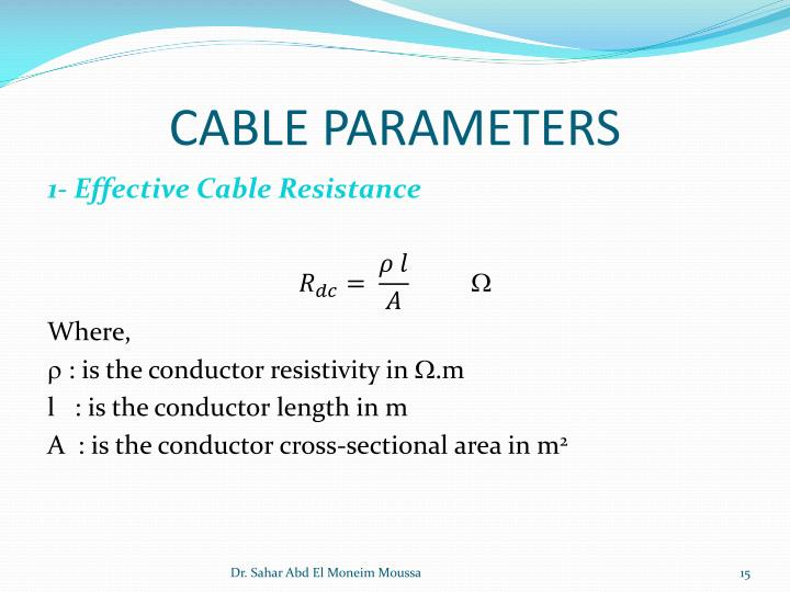 CABLE PARAMETERS