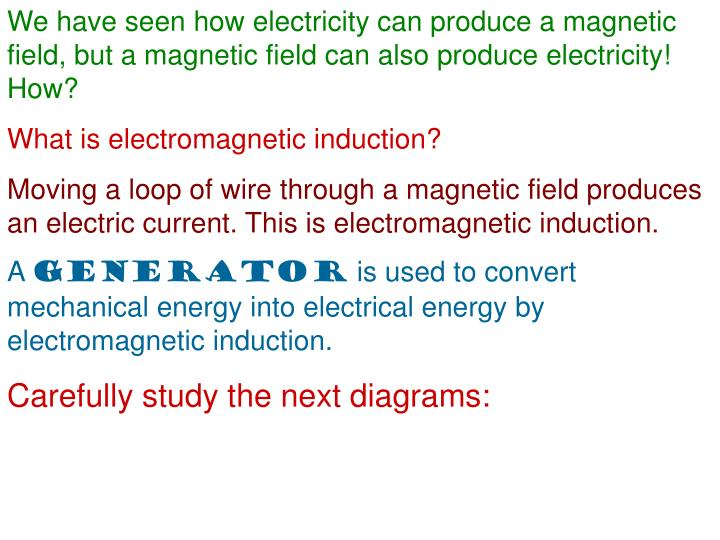 We have seen how electricity can produce a magnetic field, but a magnetic field can also produce electricity! How?