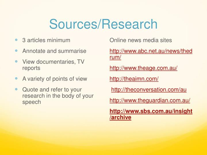 Sources/Research