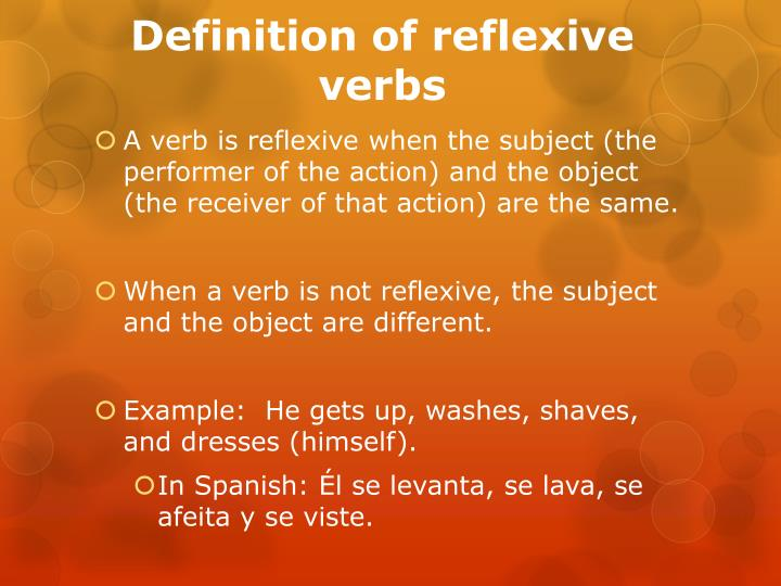 Definition of reflexive verbs