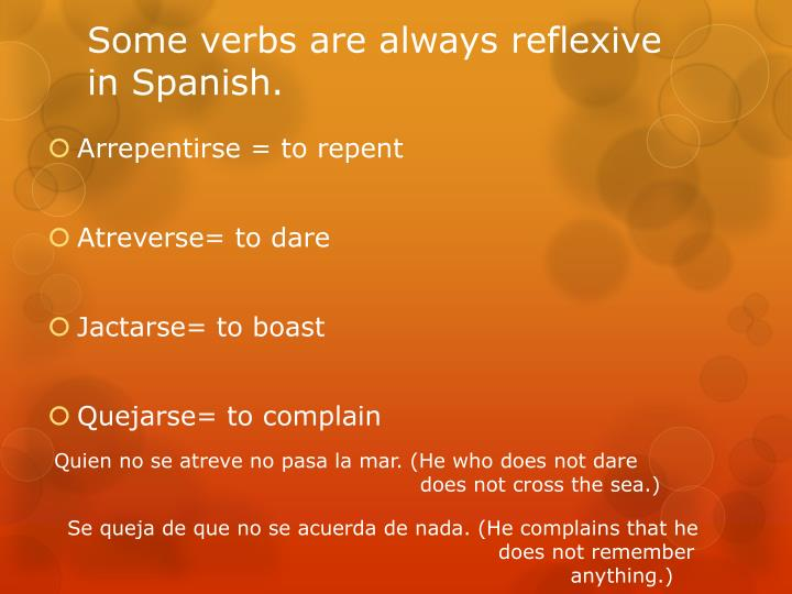 Some verbs are always reflexive in Spanish.