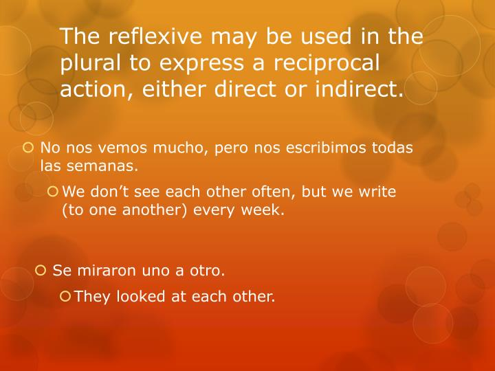 The reflexive may be used in the plural to express a reciprocal action, either direct or indirect.