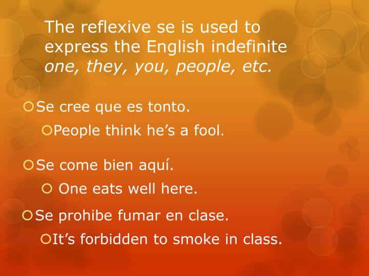 The reflexive se is used to express the English indefinite