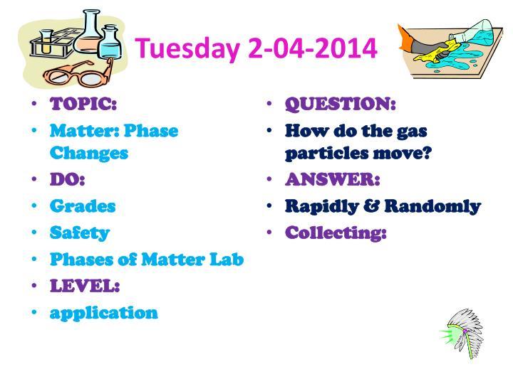 Tuesday 2-04-2014