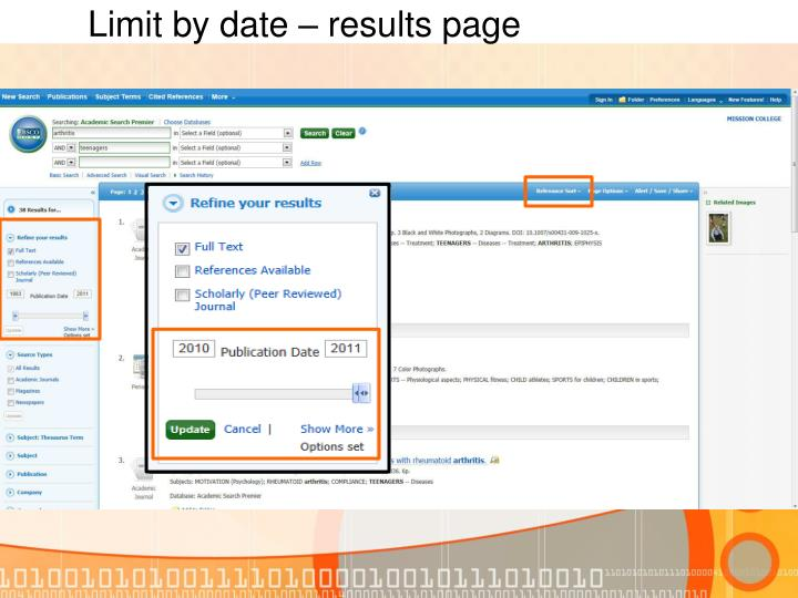 Limit by date – results page