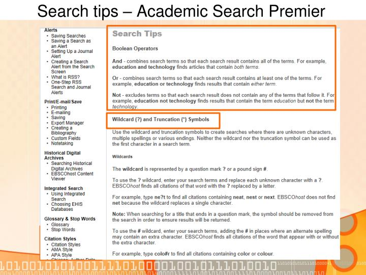 Search tips – Academic Search Premier