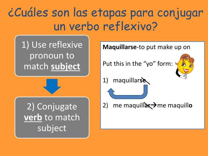 ¿Cuáles son las etapas para conjugar un verbo reflexivo?