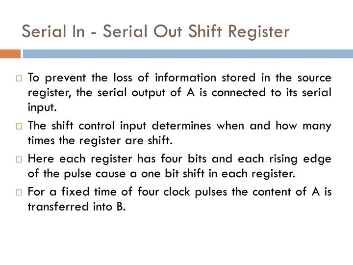Serial In - Serial Out Shift Register
