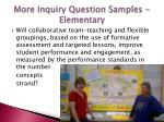 more inquiry question samples elementary
