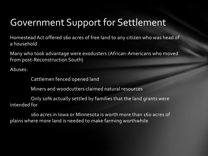 Government Support for Settlement