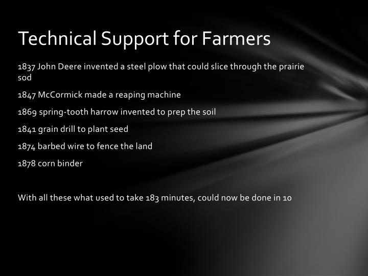 Technical Support for Farmers