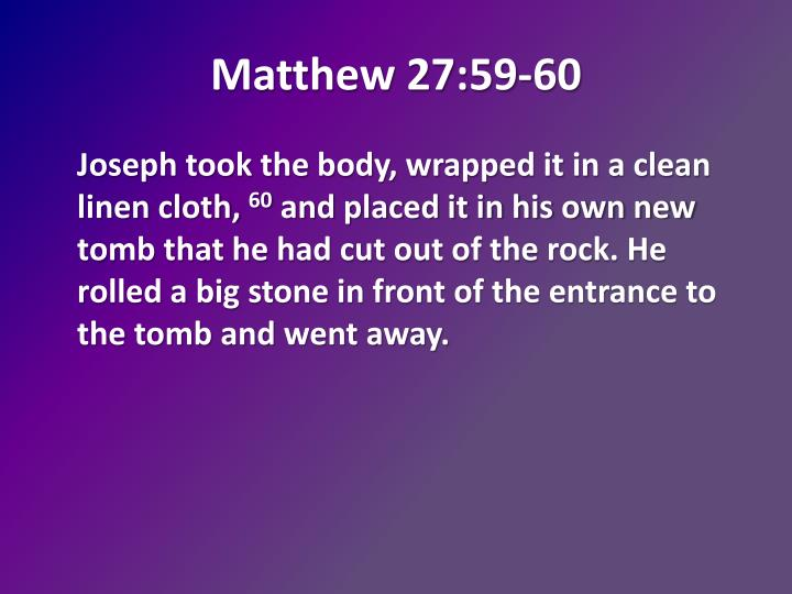 Matthew 27:59-60