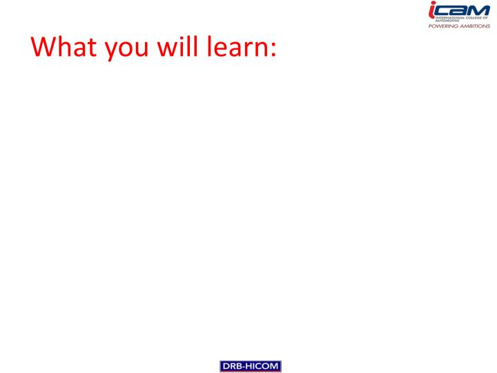 What you will learn: