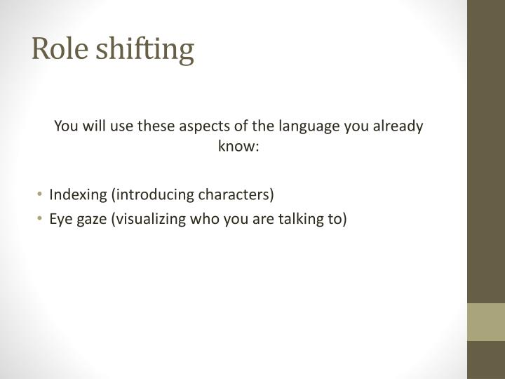 Role shifting